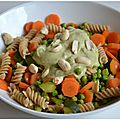 Pâtes aux légumes, sauce crémeuse a l