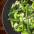 Accompagnement : asperges vertes et brocolis sautés