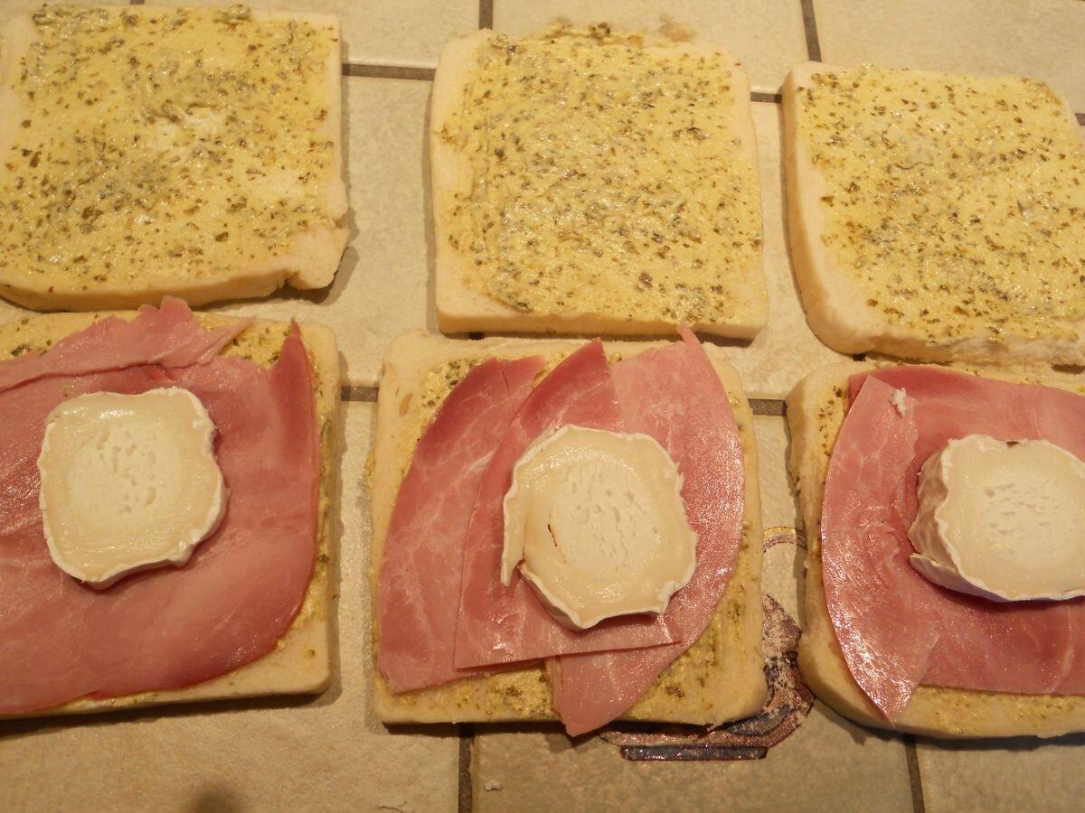 tartine au four chèvre jambon persil