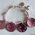 Bracelet de Première Communion sur cordon fin rose