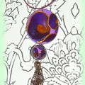 Pendentifs escargot violet/or