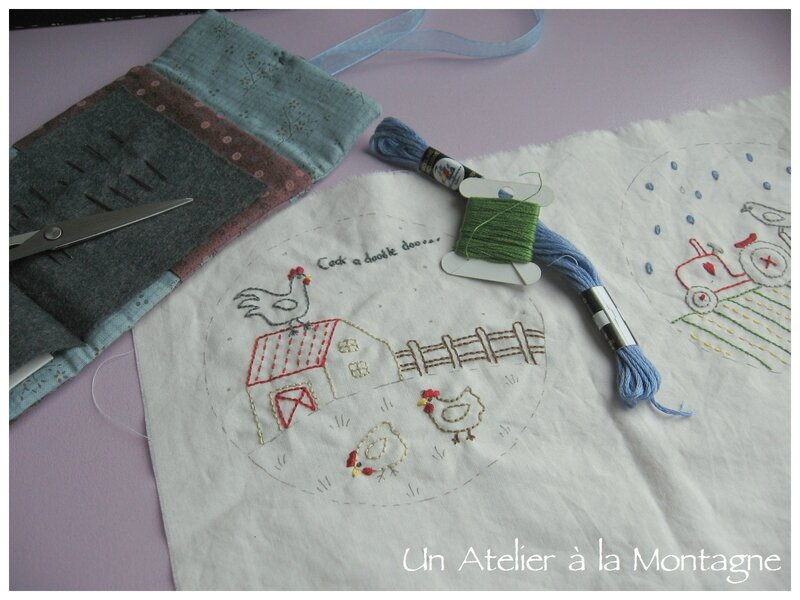 Stitched Farm, bloc 4, broderies en cours AM