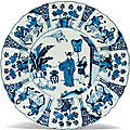 A blue and white figural dish, Kangxi underglaze blue six-character mark within a double circle and of the period (1662-1722)