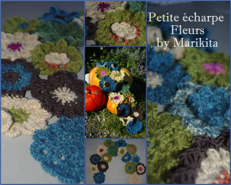 Echarpe fleurs au crochet