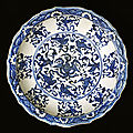 Fritware dish, painted in blue under a transparent glaze. iran, tabriz?; end of 15th century