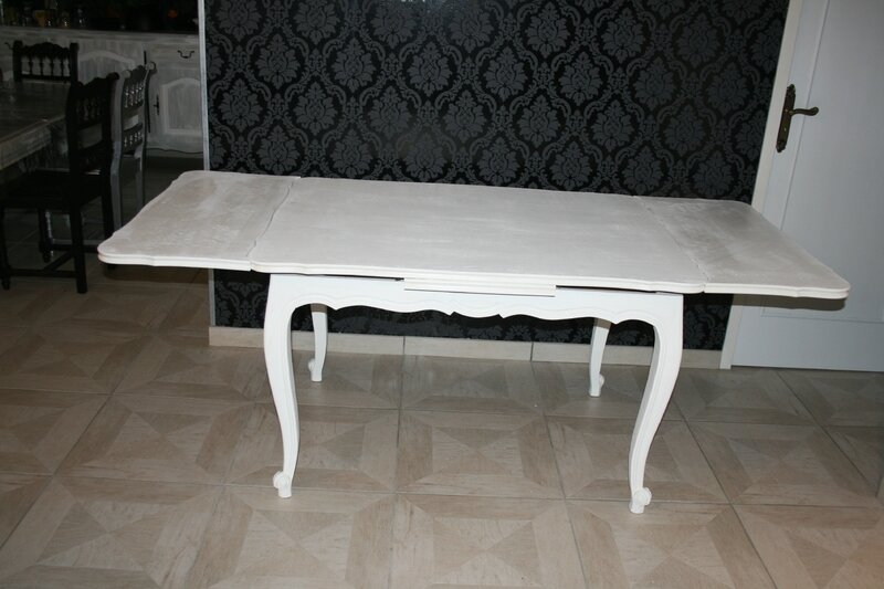 Table louis xv blanche rallonge d coration meubles ga l for Table blanche a rallonge