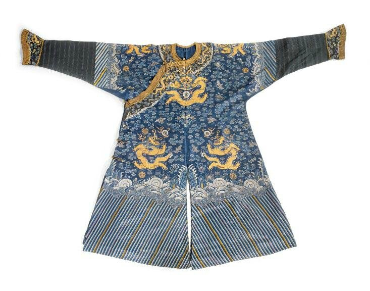 A blue silk gauze dragon robe, China, 19th century
