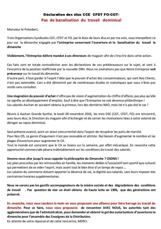 Déclaration des élus CCE des organisations syndicales