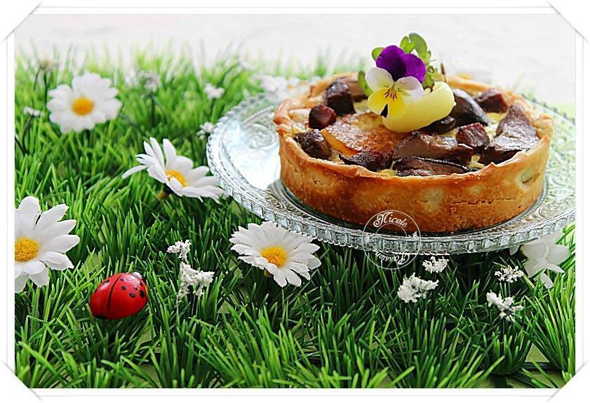 Tartelettes individuelles, à la Périgourdine: pommes de terres, cèpes et magrets de canard fumé......