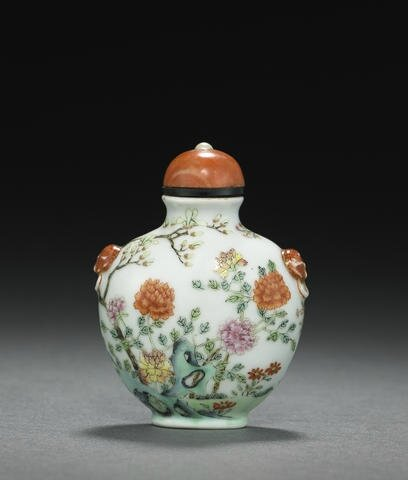 A molded and famille rose enameled porcelain snuff bottle, 1820-1900