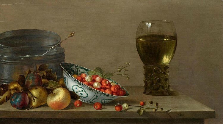 Gillis Gillisz de Berg, A still life with apples, plums, a porcelain bowl with strawberries and a Römer with wine on a table