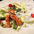 Langoustines framboisé, asperges guacamole – fêtes des mères