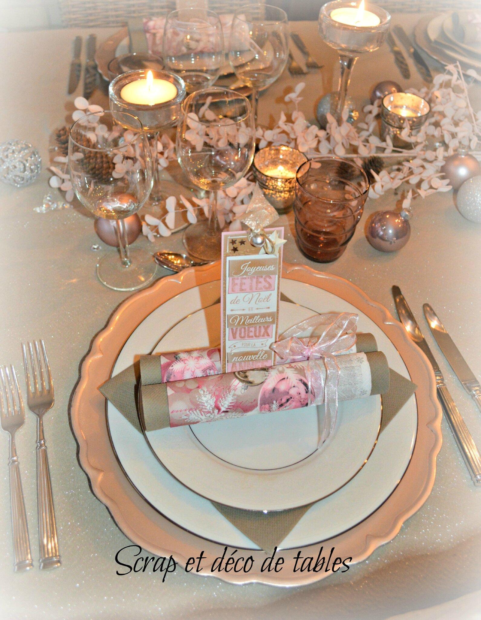 deco de tables du r veillon de no l rose et argent scrap et d co de tables. Black Bedroom Furniture Sets. Home Design Ideas