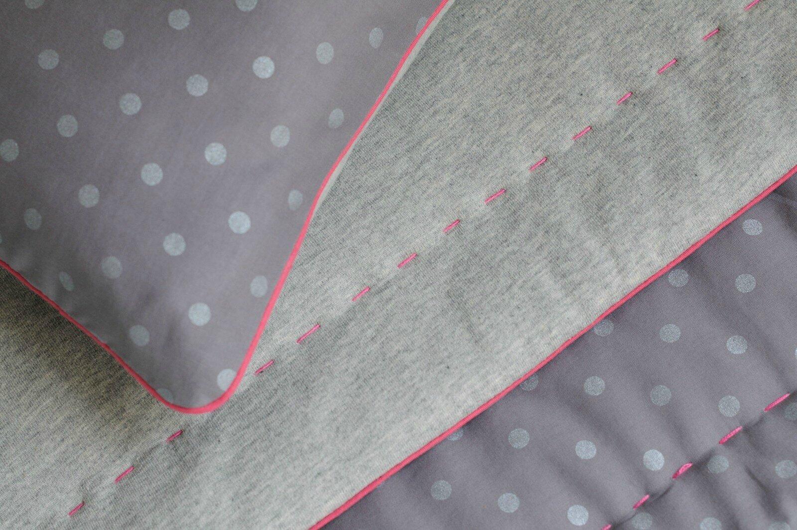 couverture bébé - tissu sweat-shirt et batiste gris à pois argent France Duval Stalla