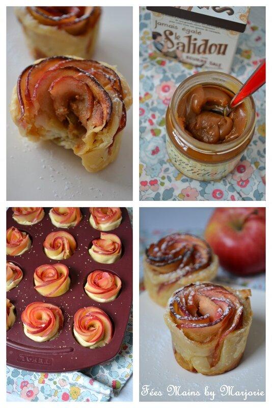 Roses feuillettées aux pommes et au caramel1