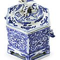 A blue and white hexagonal box and cover, Mark and period of Wanli (1573-1619)