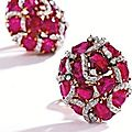 Pair of 18 karat gold, platinum, ruby and diamond earclips, verdura, 1992
