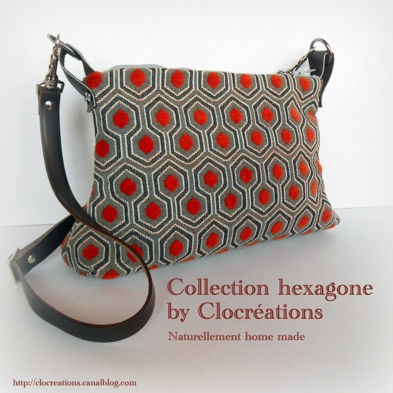 Sac trapèze hexagone orange-Clocréations 2015