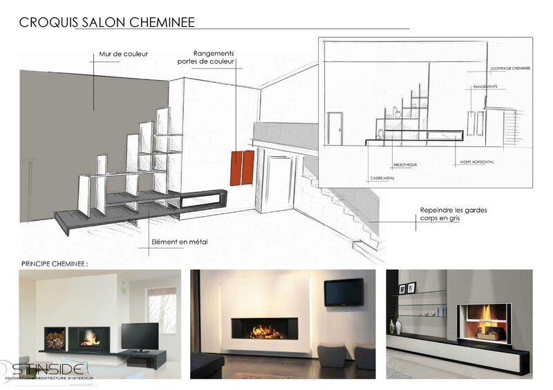 croquis salon cheminee TRAINAR