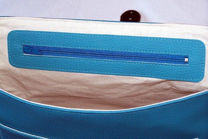 poche interieur sac bleu