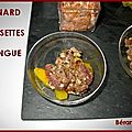 Verrine tartare de canard, noisette et mangue