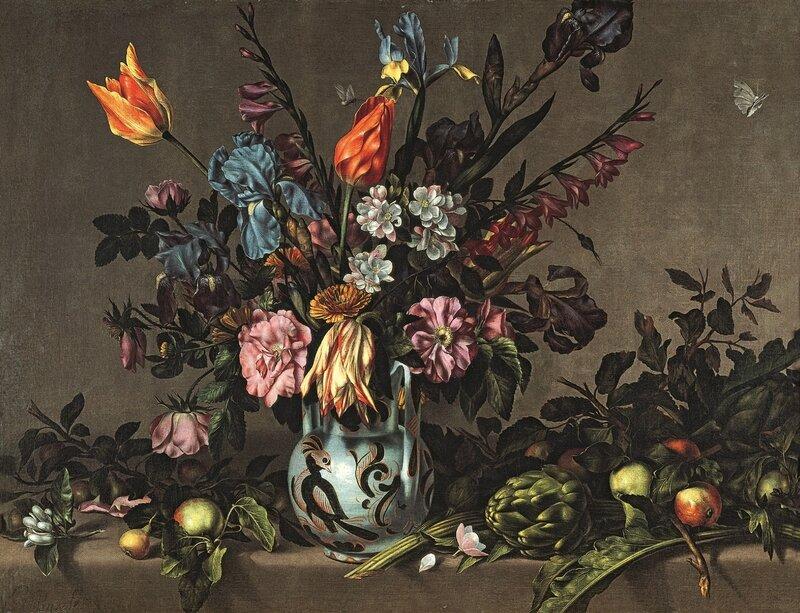 Bodegon-con-jarron-de-Talavera-con-flores-alcachofas-y-frutas-Antonio-Ponce