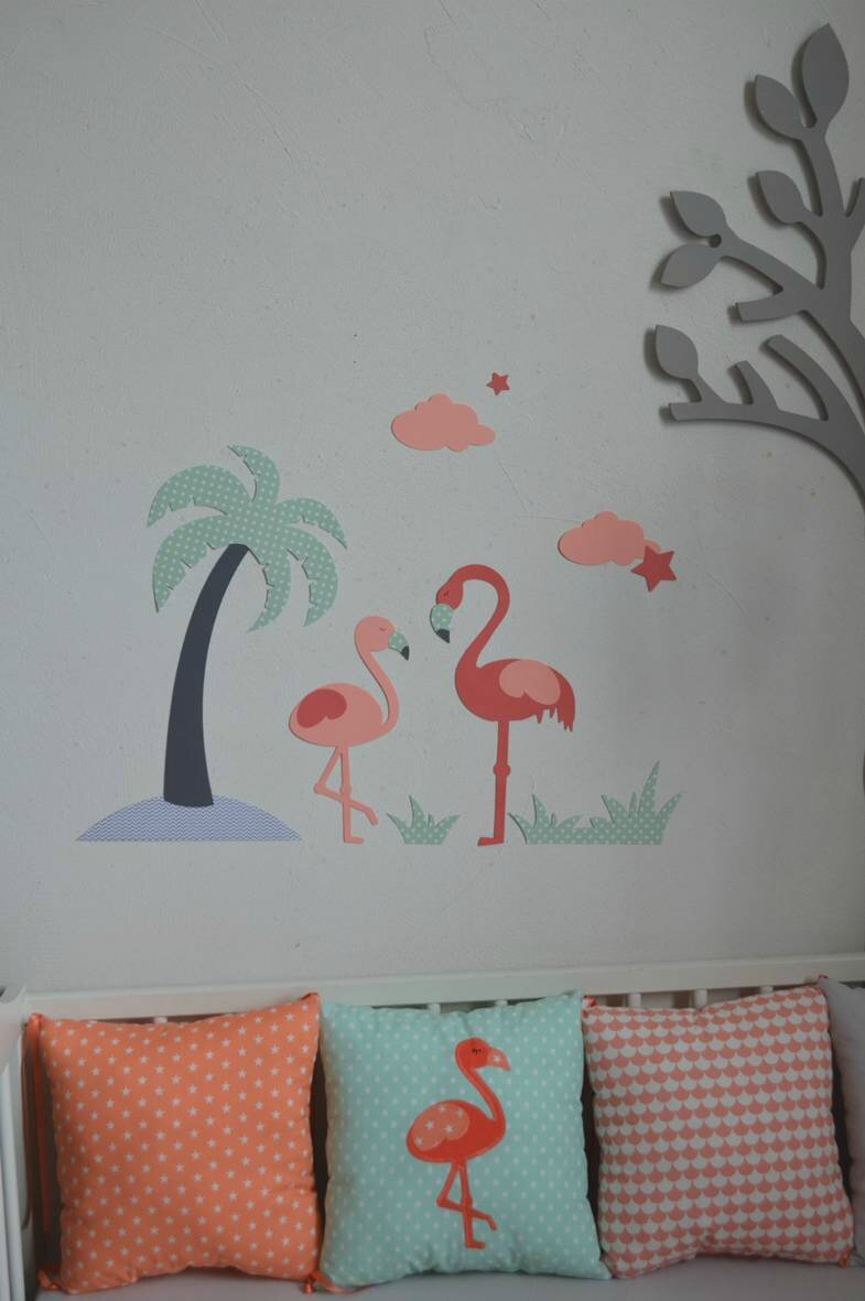stickers flamant rose nuage toiles palmier corail saumon vert eau gris d coration chambre. Black Bedroom Furniture Sets. Home Design Ideas