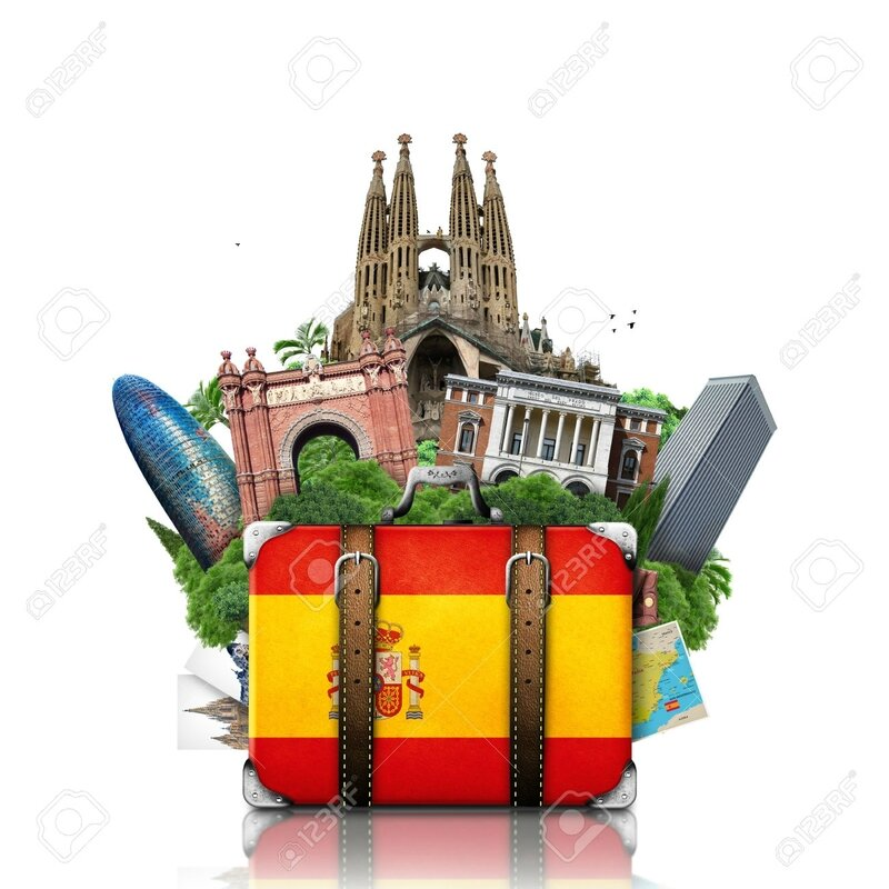 27570225-Spain-landmarks-Madrid-and-Barcelona-travel-suitcase-Stock-Photo