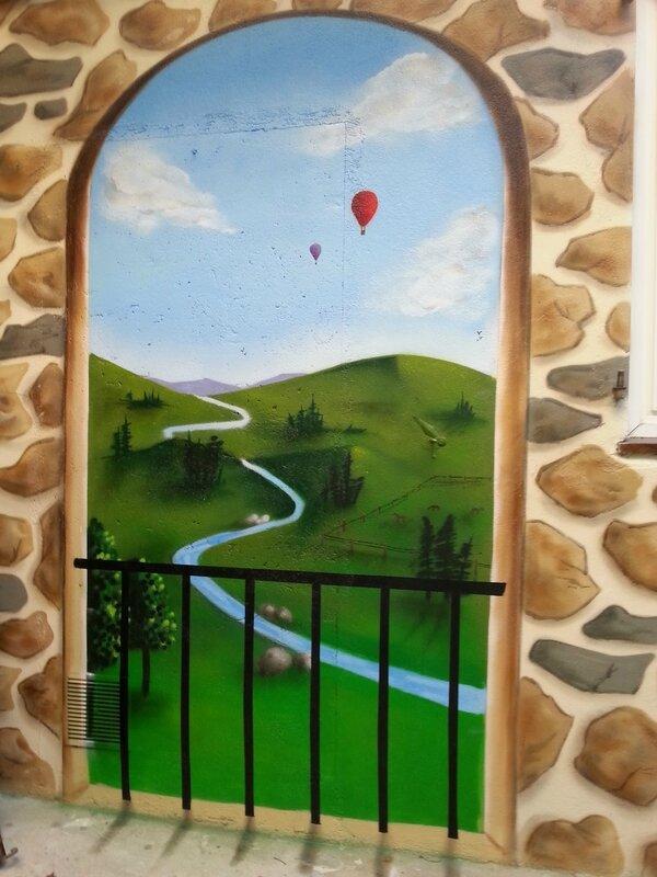 D coration terrasse peinture originale d coration - Trompe l oeil exterieur jardin ...