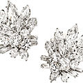Diamond, platinum, white gold earrings, van cleef & arpels