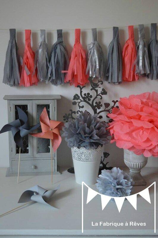 Chambre Gris Perle Et Mauve :  shower aniversaire chambre enfant bébé fille corail gris argenté