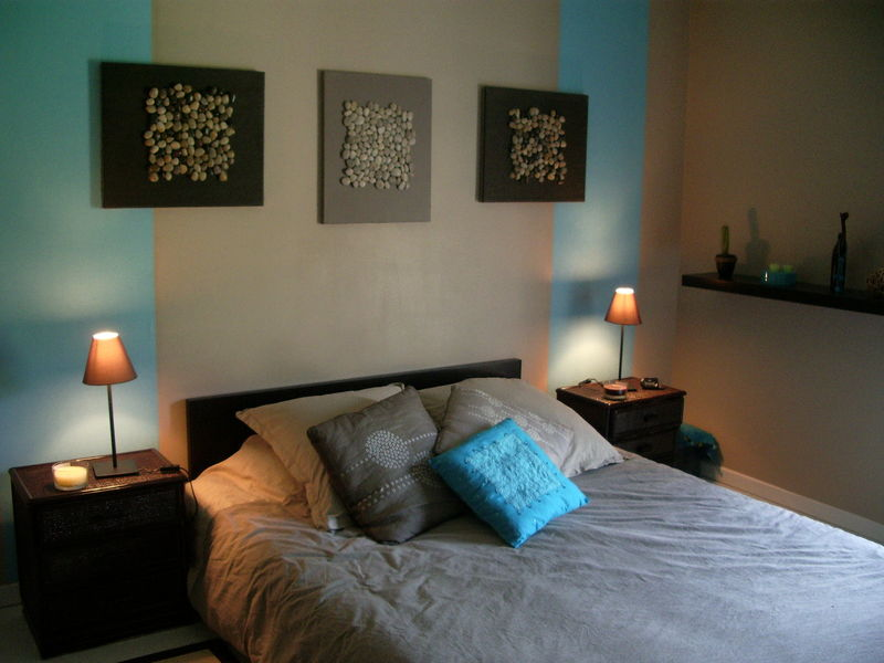 D co chambre turquoise et marron for Salon rose et marron