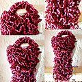 écharpe rose pompom