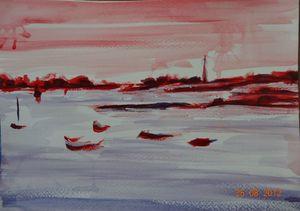 vue plage fort cezon sur le phare de l'île vierge à landeda rouge