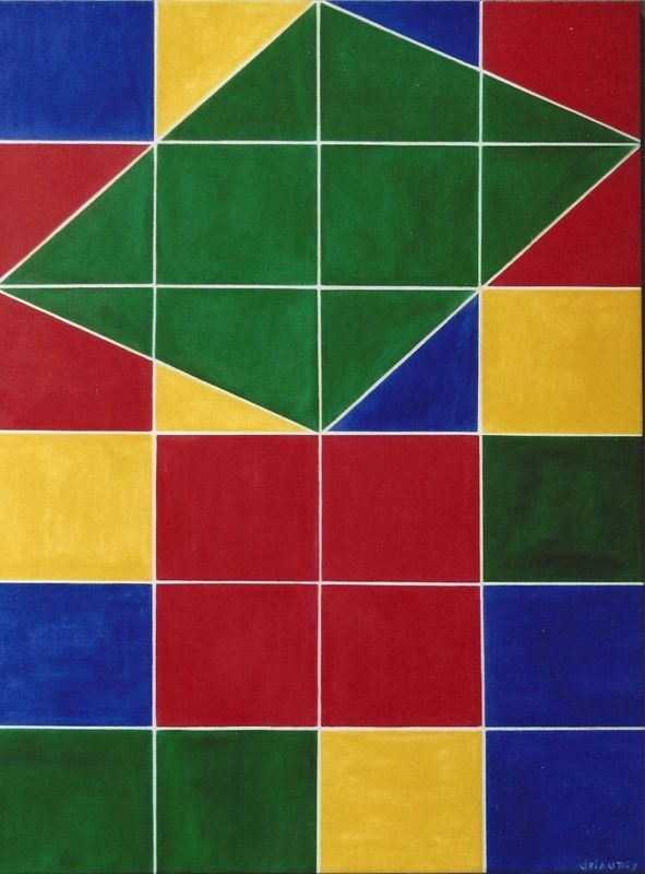 Abstraction g om trique rubik 39 s cube huile sur toile for Abstraction geometrique