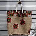 Grand sac cabas toile de jute de sac à café recyclé + wax (sénégal) - modèle unique