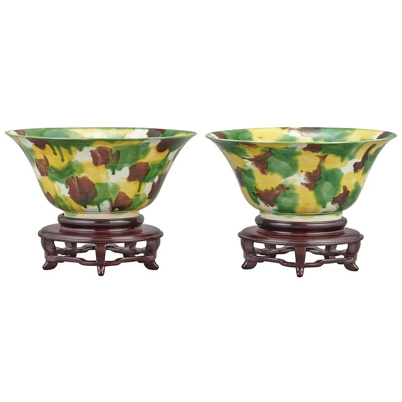 Two Similar Chinese 'Egg and Spinach' Glazed Porcelain Bowls, Kangxi Period