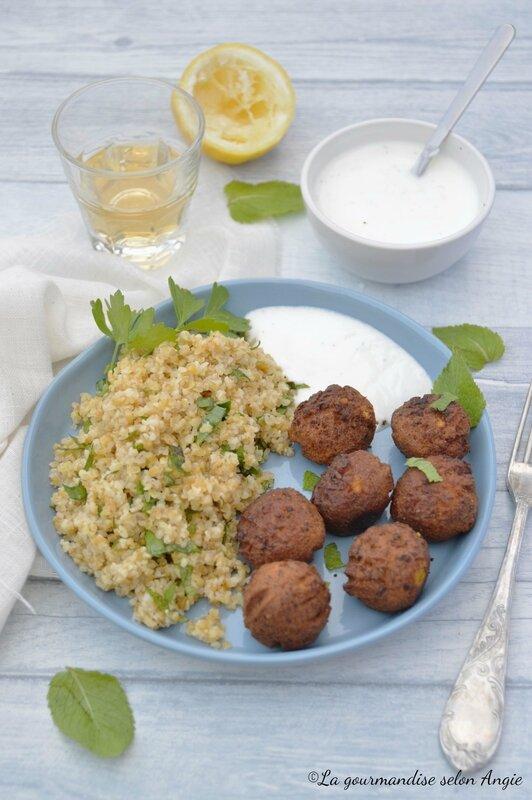 boulghour herbes et falafels vegan