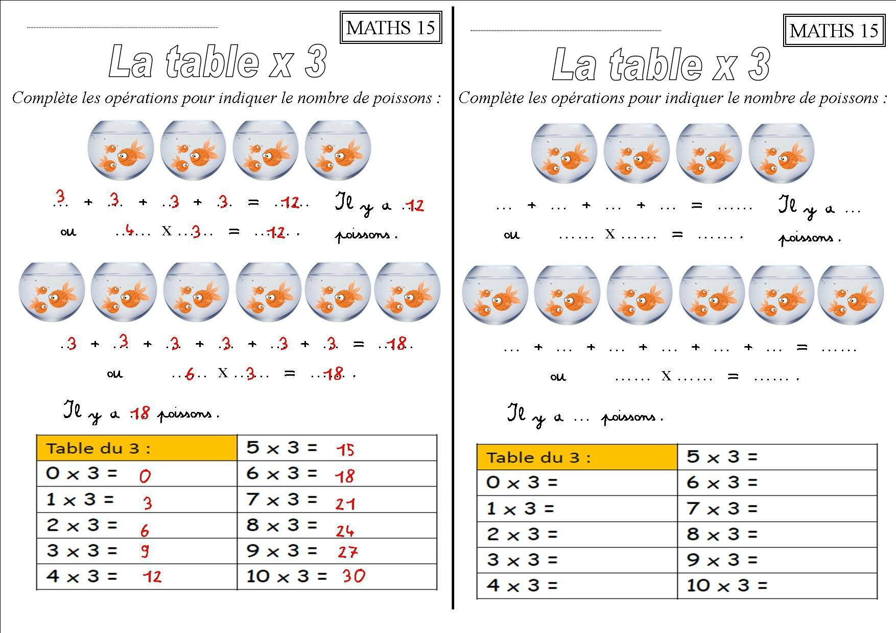 Exercice de table de multiplication 2 3 4 5 6 images des - La table de multiplication de 3 ...