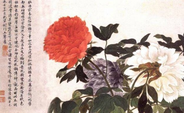 Pivoines Yun Shouping Dynastie Qing