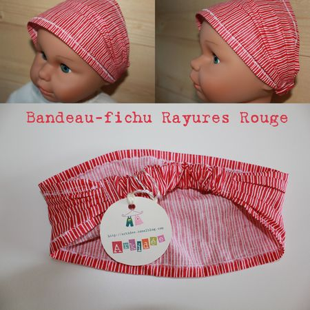 Bandeau-fichu Rayures Rouge