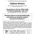 Rencontre avec stéphane bonnéry, mardi 10 février 2015 de 17h30 à 19h30 à l'espe des batignolles