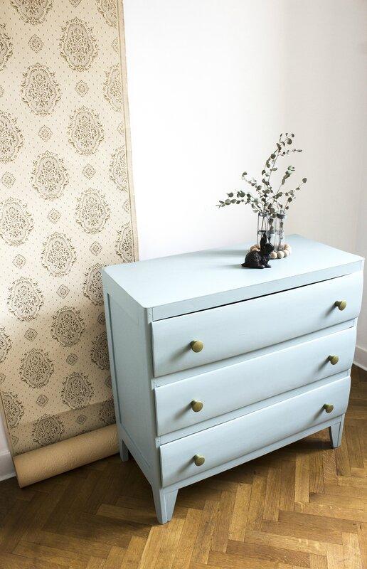 commode vintage années 50 chambre enfant bébé bleu 3