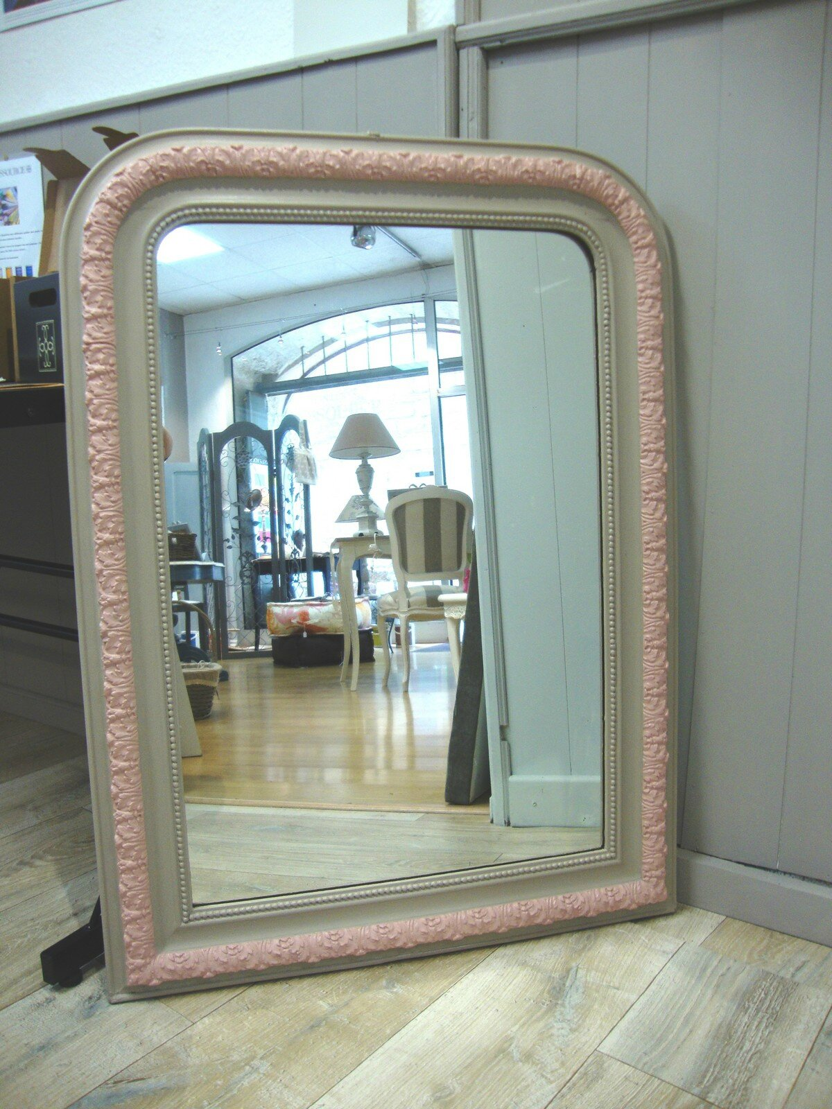 Miroir ancien biscuit et rose kr ative d co for Decoration de miroir