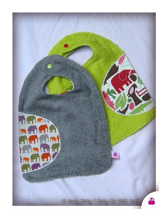 DSCN9997-owly-mary-du-pole-nord-bavoir-garcon-mixte-bebe-bavette--essuie-bouille-amovible-rallonge-bleu-roi-moustache-vert-anis-elephant-animaux-animal-gris-violet-orange