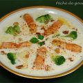 Velouté de chou-fleur aux langoustines et brocolis