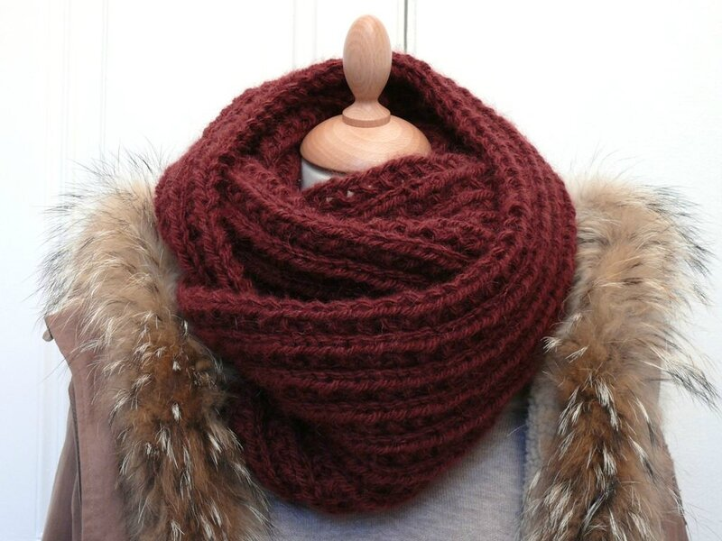 Le maxi snood (farrow rib stitch)