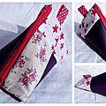 10. simili violet et cotons fleurs et étoiles - effet patchwork