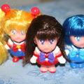 Figurine avec cheveux, sailor moon, mercury et mars, saison s