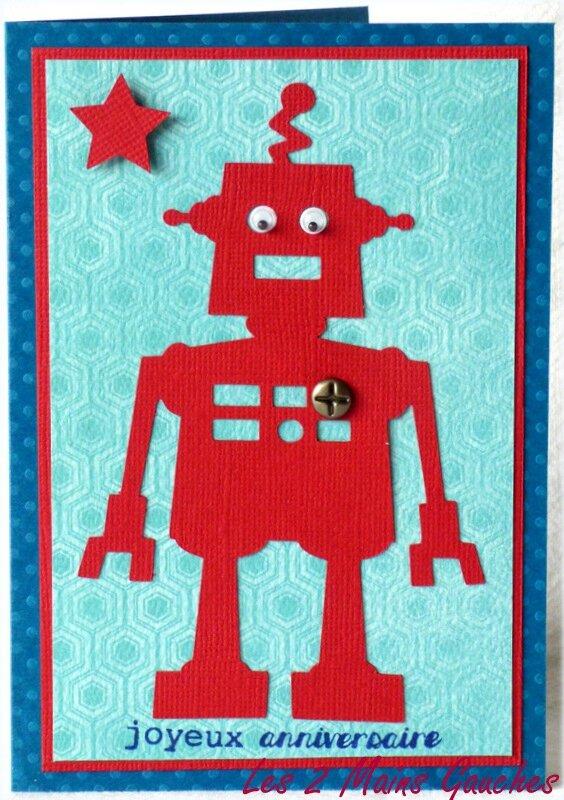 carte d'anniversaire pour garçon avec robot rouge